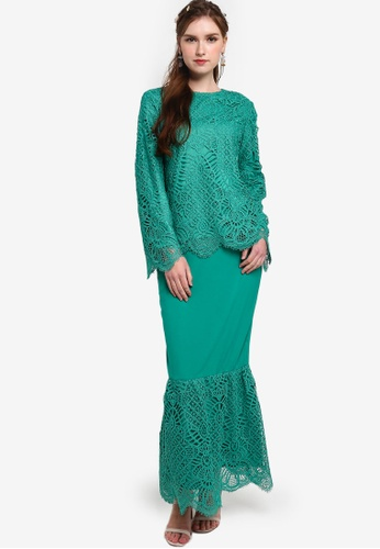 Lubna green Lace Wide Sleeves Kurung 68B2DAA543A2ADGS_1
