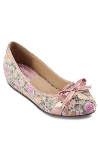 蝴蝶結印花內增高娃娃鞋,esprit 台中 女鞋, 鞋