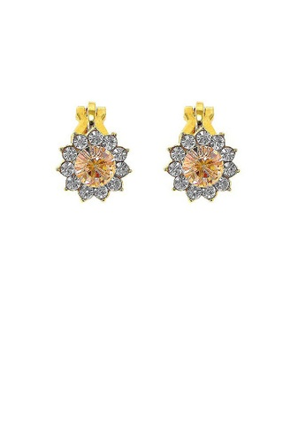 Glamorousky orange Enchanting Non Piercing Earrings with Silver Austrian Element Crystal and Orange CZ B15AFACE757389GS_1