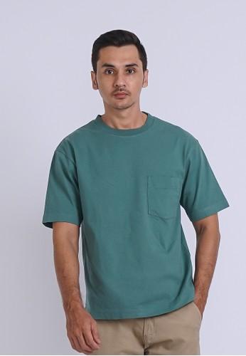 ALOWALO blue Alowalo - Oversized T-shirt Crew Neck Short Sleeve Men - Blue Spruce 628AAAA22960C6GS_1
