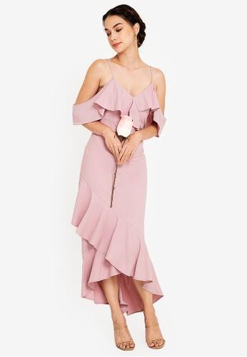 ZALORA OCCASION 粉紅色 Bridesmaid Ruffle Detail Maxi Dress 771BCAA3D1FC47GS_1