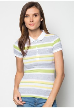 Girls Slim Fit Stripes Polo Tee