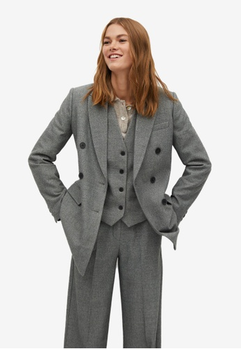Mango grey Belt Suit Blazer 281D5AADB49A23GS_1