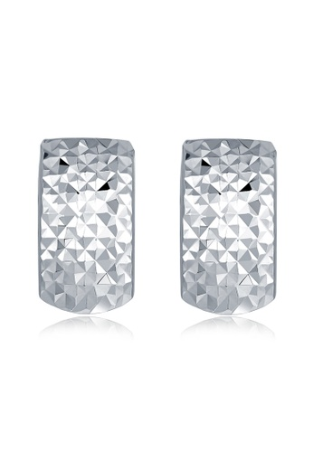 MaBelle silver 14K White Gold Curved Faceted Retangle Earrings MA584AC2W732HK_1