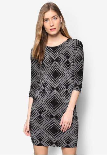 Petite 亮飾鑽形紋理七分袖連身esprit outlet 台中裙, 服飾, 洋裝