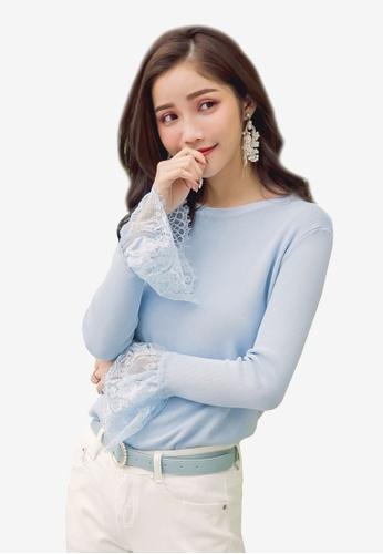 YOCO blue Lace Hem Top 1AB5DAAD6A7F85GS_1