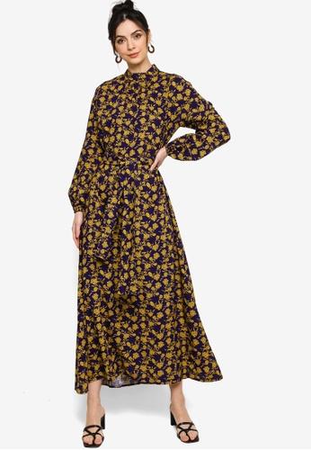 Zalia yellow and blue Printed Sash Dress D1CBEAAA486A6FGS_1