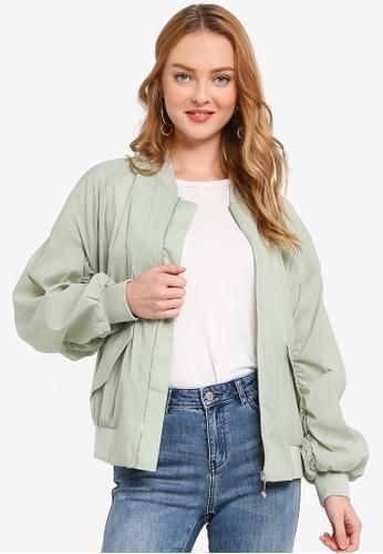 Hopeshow green Puff Sleeve Zip Fly Jacket A662AAAA38E726GS_1