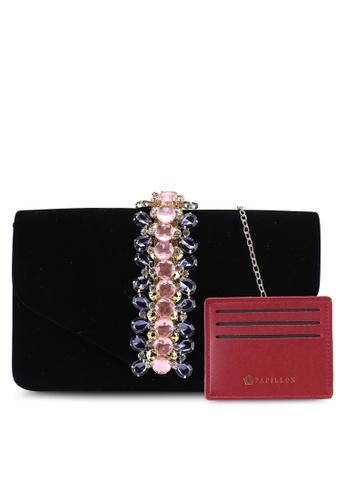 Papillon Clutch black Gems Velvet Envelope Clutch E2B08ACA45048BGS_1