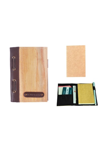 Jacinto and Lirio brown and beige Spes Mini Refillable Vegan Leather Blank Journal and Passport Holder 244F0HL491AED5GS_1