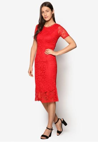 esprit mongkok蕾絲荷葉飾裙擺洋裝, 服飾, 洋裝