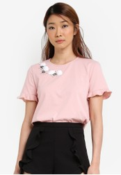 Something Borrowed pink Embellished Neckline Tee A7907AA83CDC1CGS_1