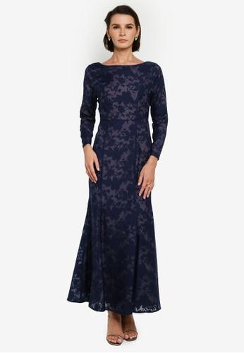 Zalia 藍色 and 褐色 Floral Texture Mermaid Dress 91477AAA440129GS_1