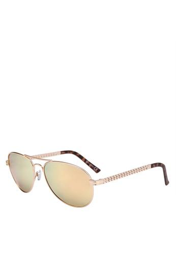 7f4a8a57d397 River Island gold Maisie Chain Arm Gold Revo Lense Aviator Sunglasses  33530GL83884FEGS 1