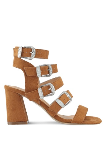 MISSGUIDED brown Multi Western Buckle Block Heel Sandals 2969FSH6103F23GS_1