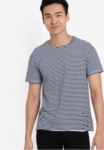 ZALORA navy Distressed Cotton Stripe Tee E7C74AA45CDBAFGS_1