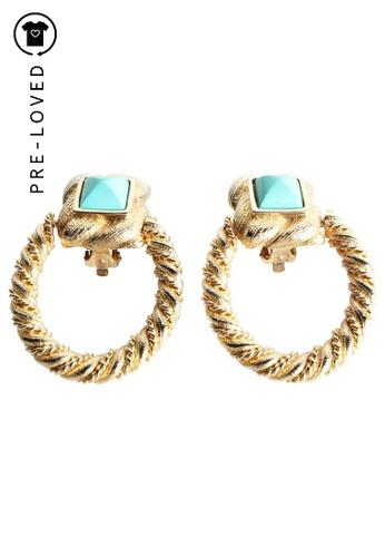 Les Bernard gold Pre-Loved les bernard Vintage Gold Stones Earrings B5D7DAC7F3538CGS_1
