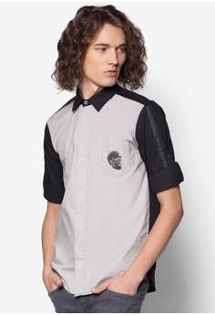Skull Printed Pocket 3/4 Sleeve Shirt