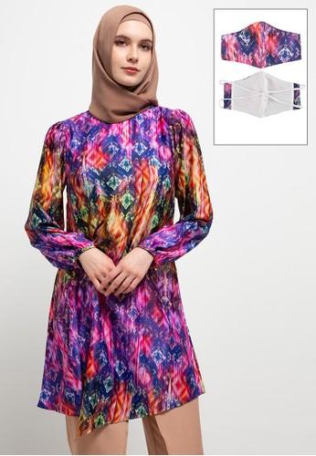 AZZAR pink and purple Kiera Tunic W/ Mask 8FE91AA01FD5F0GS_1