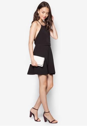 挖背褶藝連身裙,zalora 內衣 服飾, 洋裝