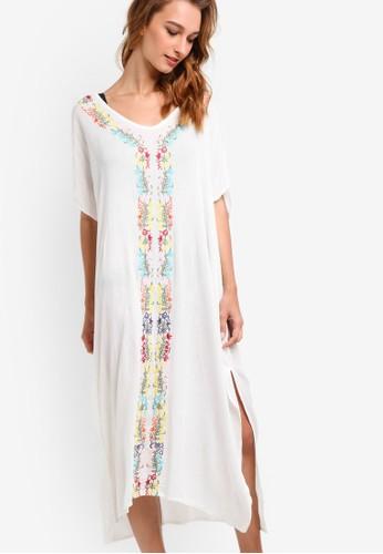 Mesprit 品牌andala 印花滾邊側開叉罩衫連身裙, 服飾, 泳裝及沙灘造型