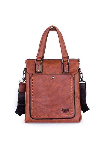 VERNYX black and brown VERNYX - Men's Jeep Buluo Shoulder Bag Tas Bahu TSJ376 Brown - Tas Pria VE358AC47SUMID_1