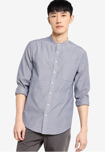 ZALORA BASICS white and navy Regular Stand Collar Striped Shirt 2B375AA28F3C2BGS_1