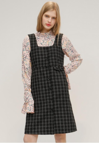 OUTSTANDING ORDINARY black and white Dream Check Dress OU203AA36DBZSG_1