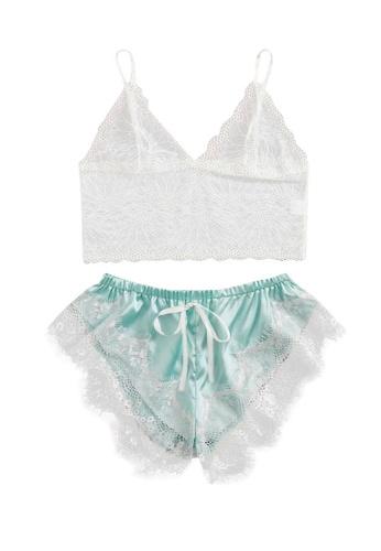 Glamorbit multi Mint Green Lace Lingerie Set CEE20US2BDE1CEGS_1