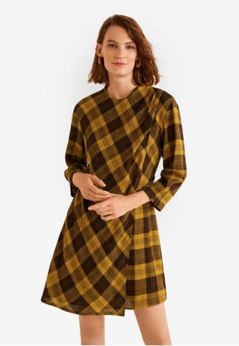Mango brown Check Dress C14FDAADB7C703GS_1