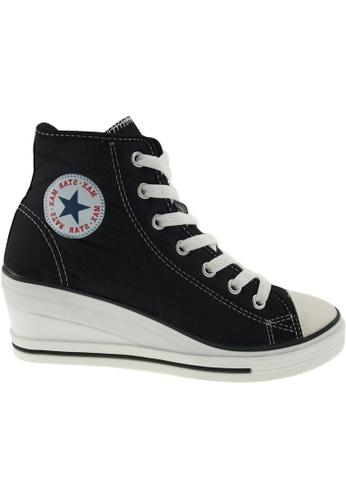 Maxstar black Maxstar Women's 7H Zipper Canvas Low Wedge Heel Sneakers MA164SH79PVCSG_1