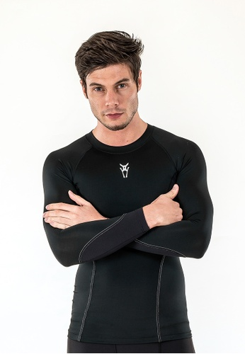 AMNIG black Amnig Men Diligent Compression Long Sleeve (Black/white) AM133AA77DOKMY_1