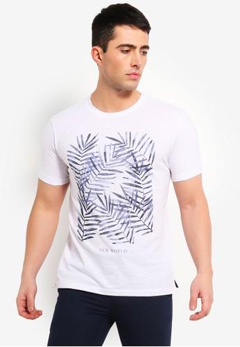 MANGO Man white Leaf-Print Cotton T-Shirt 6F8CDAAD93E693GS_1