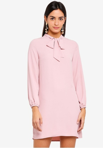 ZALORA pink Bow Long Sleeves Dress 1B0CEAA1FEC1B6GS_1