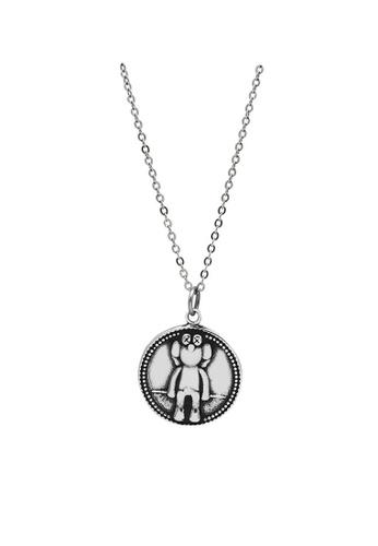 LYCKA 銀色 LDR9118 S925純銀 復古日文硬幣項鏈 DA638AC8987A86GS_1