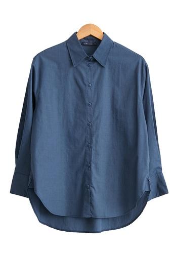 LC Waikiki blue Plain Cotton Poplin Shirt 48B11AA6E7C856GS_1