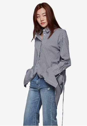 腰帶長版條紋長袖襯衫, 服飾,京站 esprit 洋裝