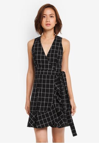 ZALORA black Wrap Dress with Frill Hem BD507AA43E80D2GS_1