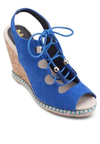 露趾交叉帶厚底esprit 京站楔型涼鞋, 女鞋, 鞋