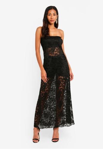adamaya black Tube Long Dress Lace 533E3AA0499B13GS 1