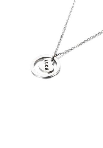 Glamorousky silver Simple and Romantic Geometric Round Heart-shaped 316L Stainless Steel Pendant with Necklace CEBFEACD9D672FGS_1