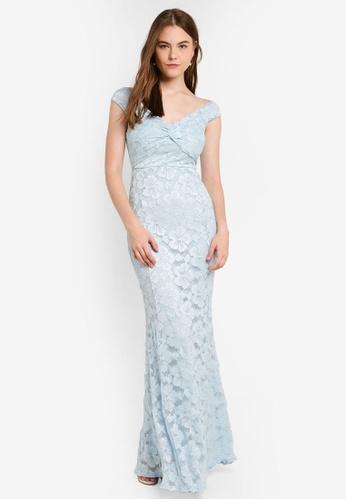Light Blue Glitter Lace Knot Front Fishtail Maxi Dress