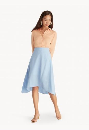 Pomelo blue Midi Flowy A Line Skirt - Blue D9874AA690E156GS_1