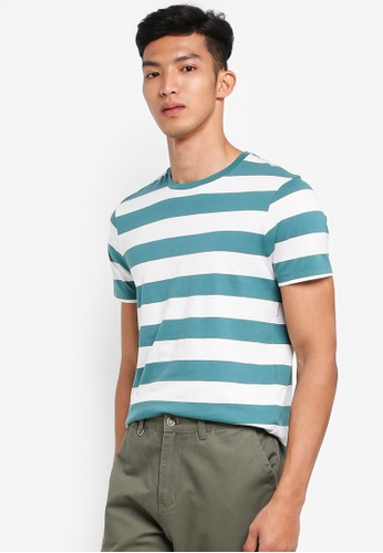 J.Crew green Mercantile Broken-In T-Shirt in Turquoise Stripe 5136AAA455196EGS_1