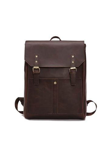 Lara brown Men's Plain Belt Buckle Flap Backpack - Brown 69100AC421D57CGS_1