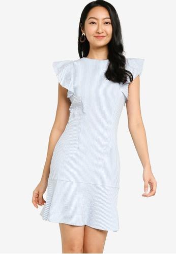 ZALORA BASICS blue and multi Ruffle Sleeves Mini Dress 35708AA56A345AGS_1