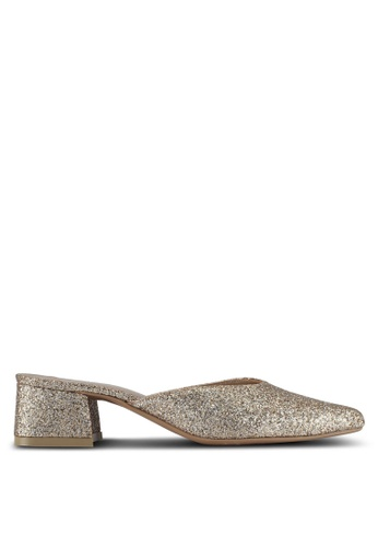 Cipela For Lubna gold Cora Mule Block Heels 5C6F1SH2C6D6E0GS_1