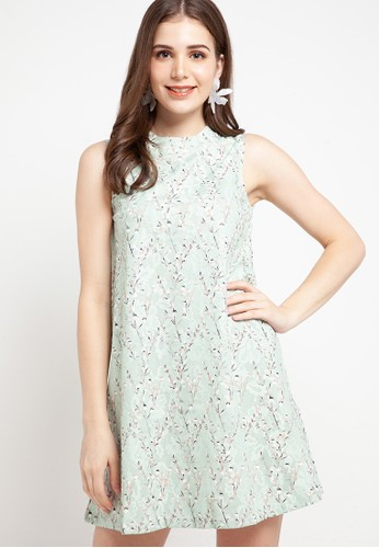 Chic Simple green Sleeveless Printed Lace Bbdoll Dress 8D5E8AAE9B4C8EGS_1