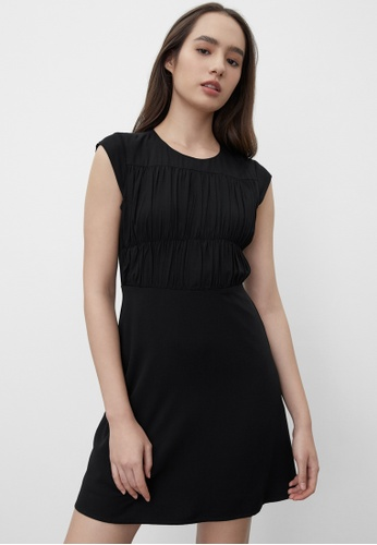 Pomelo black Sustainable Ruched Effect Dress - Black 1476AAAE839C44GS_1