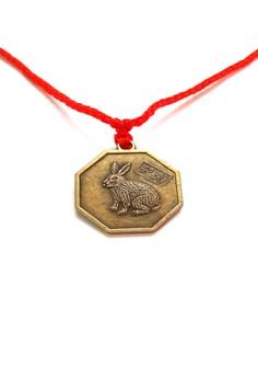 Feng Shui Brass Rabbit Pendant Animal Sign Necklace